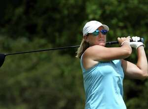 Kristy McPherson of Conway, SC hits from the 17th tee during the second round of the Marathon LPGA Classic golf tournament at Highland Meadows Golf Club in Sylvania, Ohio USA, on Friday, July 15, 2016.  (Photo by Amy Lemus/NurPhoto via Getty Images)