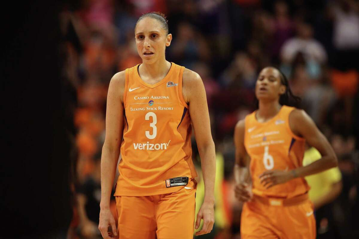 PHOENIX, AZ - AUGUST 31: Diana Taurasi #3 of the Phoenix Mercury reacts on the court following game three of the WNBA Western Conference Finals against the Seattle Storm at Talking Stick Resort Arena on August 31, 2018 in Phoenix, Arizona. The Mercury defeated the Storm 86-66. NOTE TO USER: User expressly acknowledges and agrees that, by downloading and or using this photograph, User is consenting to the terms and conditions of the Getty Images License Agreement. (Photo by Christian Petersen/Getty Images)