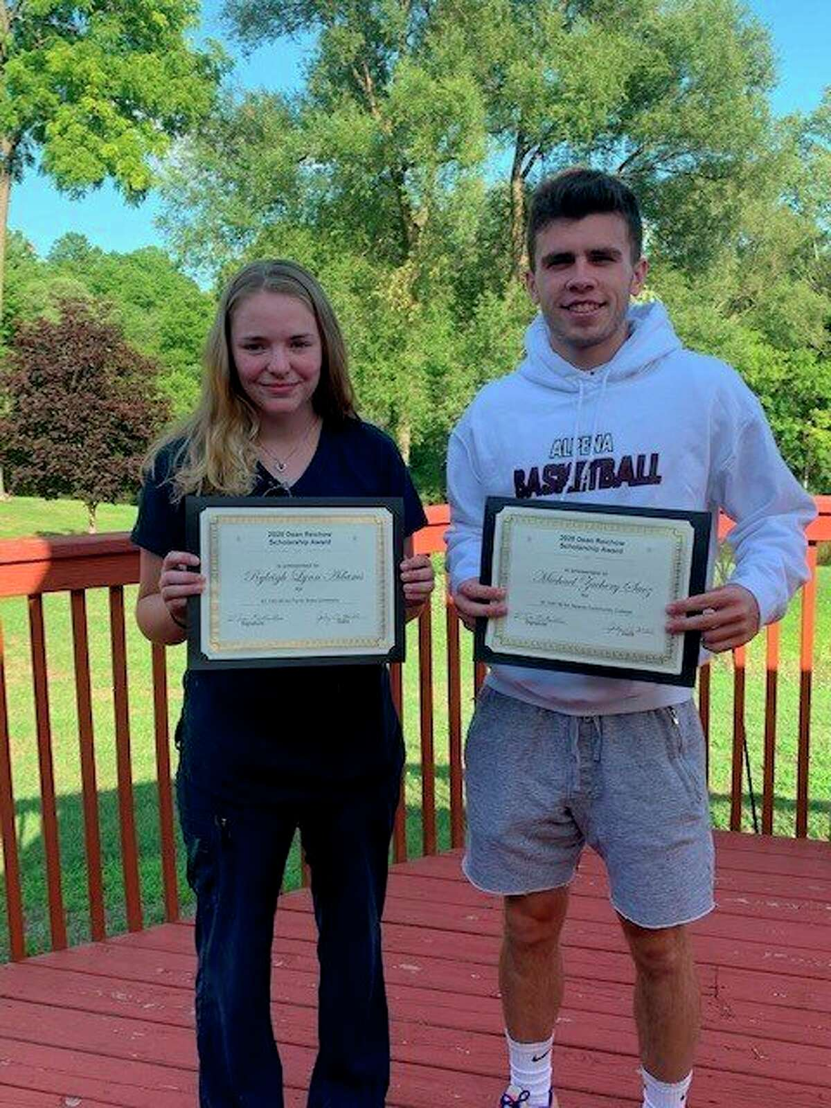 Ryleigh Adams (left) andMichael Zachery Saez each received an $1,100 Dean Riechow Scholarship Award from the Reed City Moose Lodge 705. Adamswill be attending Ferris State University to study Pre-Veterinarian.Saez will be attending Alpena Community College to study Utility Technology. (Submitted photo)