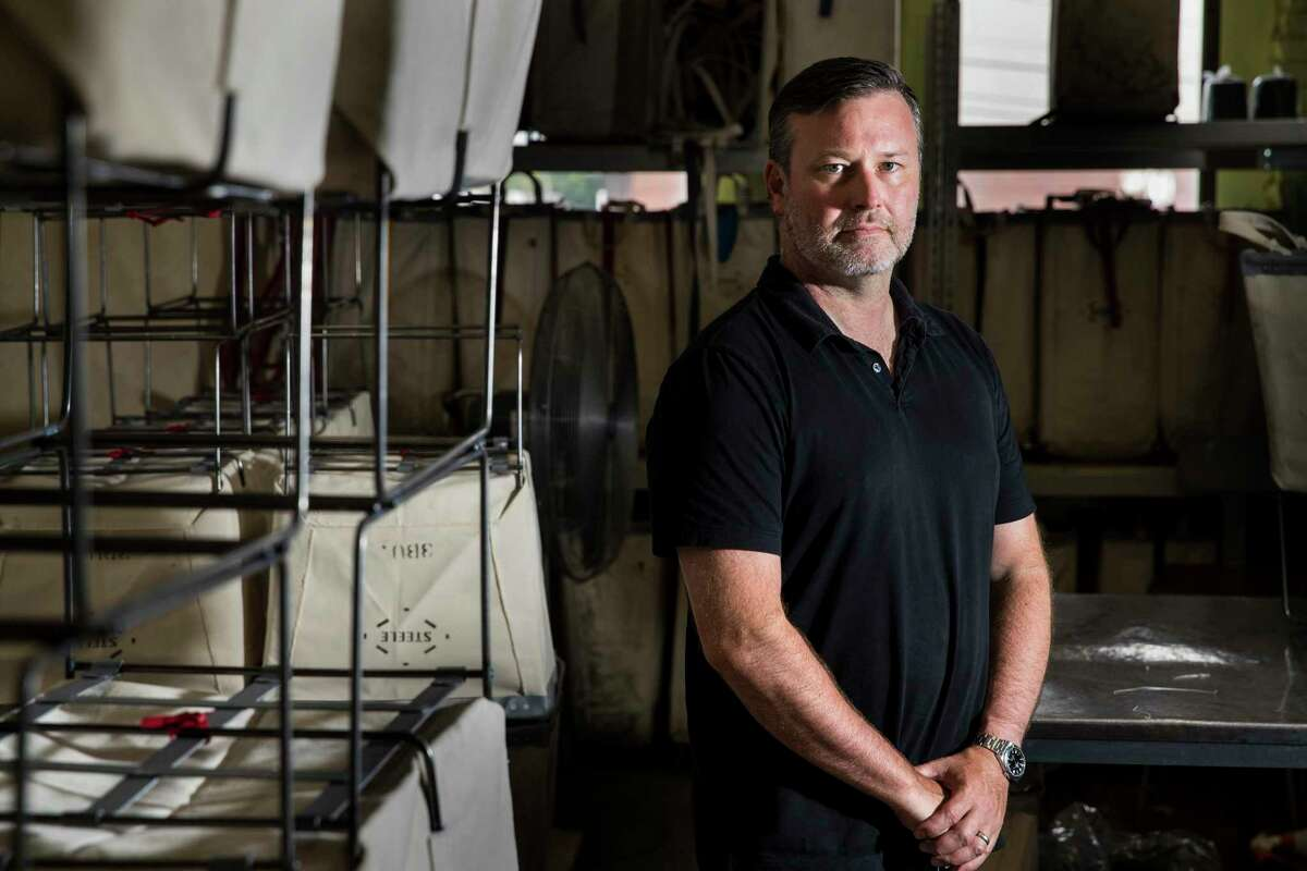 Co-owner of Steele Canvas John Lordan poses for a portrait in the factory in Chelsea, Mass.