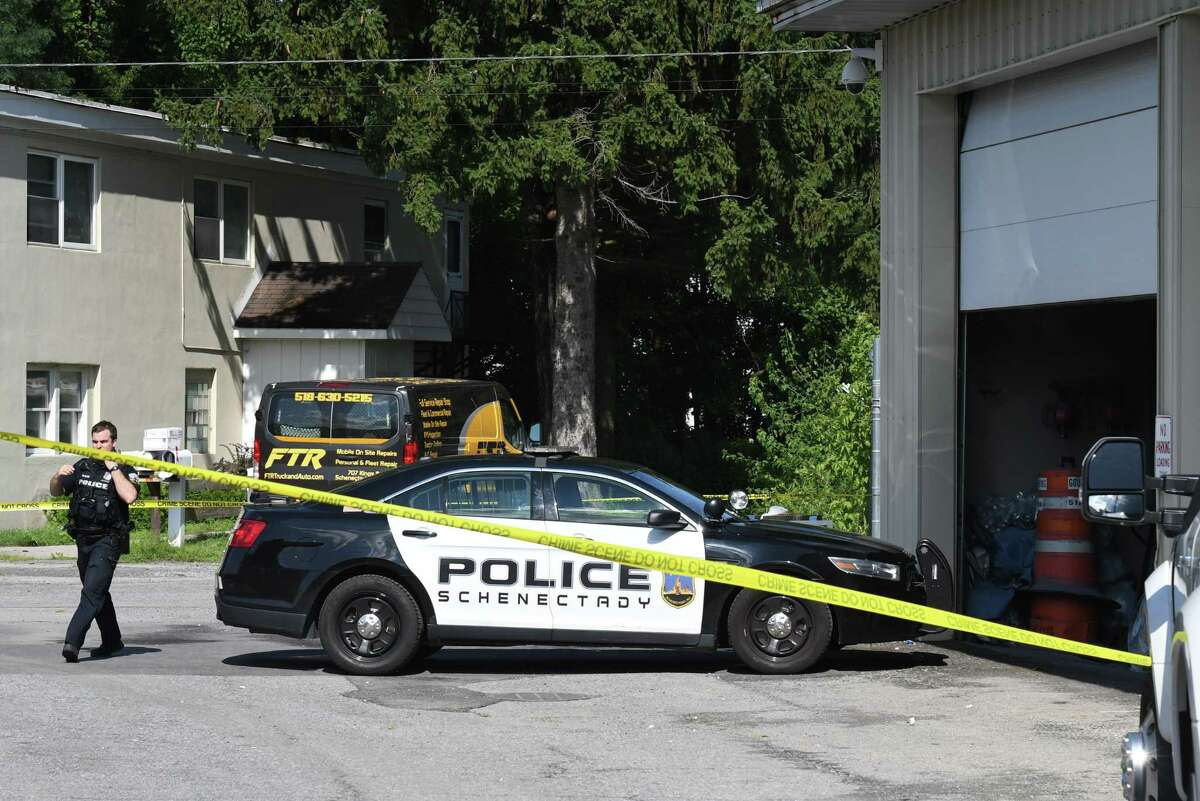 Police respond to the site of a reported explosion at Innovative Testing Solutions on Wednesday, Aug. 5, 2020, on Kings Road in Schenectady, N.Y. Three people were sent to the hospital. (Will Waldron/Times Union)