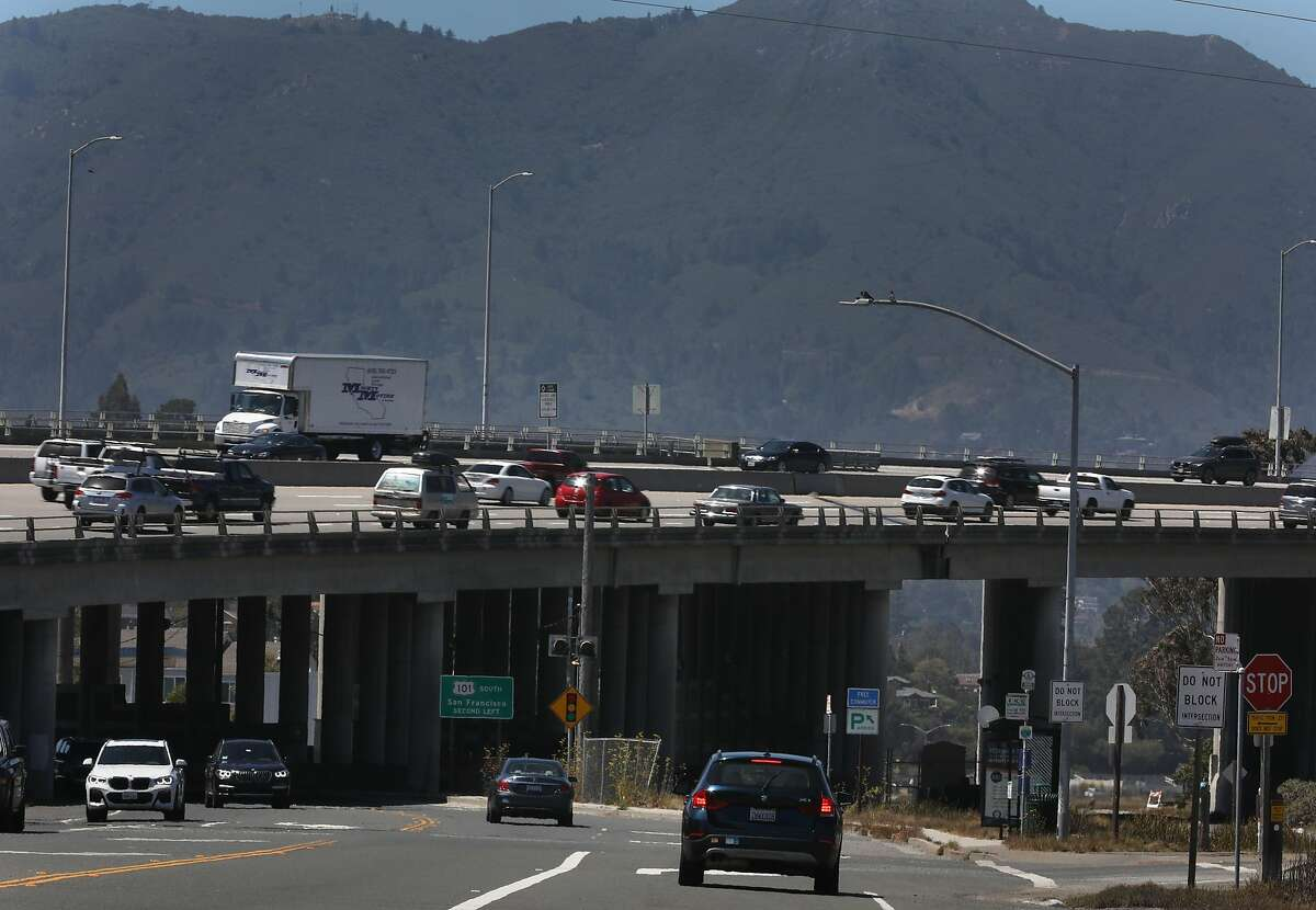 Highway 101 commute traffic, seen in Mill Valley, last year is something many Californians area not anxious to revisit. Almost a third of those working at home said they'd be happy to continue doing so, pandemic or no.