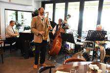 Greg Wall leads live jazz performances presented by JazzFC at Pearl Restaurant and Bar at the Inn at Longshore in Westport every Thursday night. He is pictured at a recent performance with the Nutmeg All-Stars.