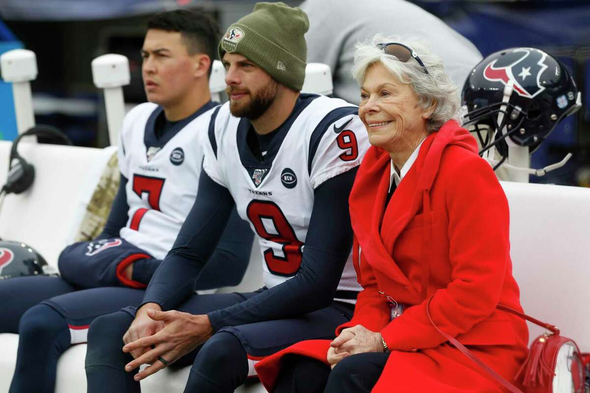 Houston Texans co-founder Janice McNair, shown here on the Texans sidelines before a November 17, 2019 NFL football game against the Baltimore Ravens at M&T Bank Stadium in Baltimore, McNair contributed $1 million to the city's rent relief program for tenants struggling through the coronavirus pandemic.