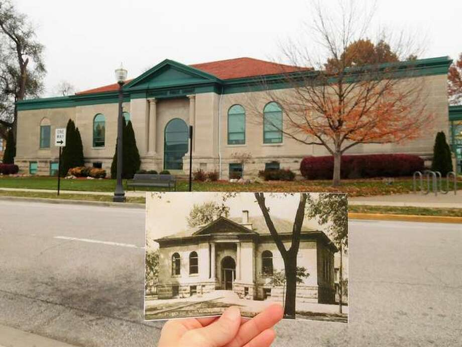 The Edwardsville Public Library, background, as it currently stands compared to the original structure, depicted in the photograph. Photo: For The Intelligencer