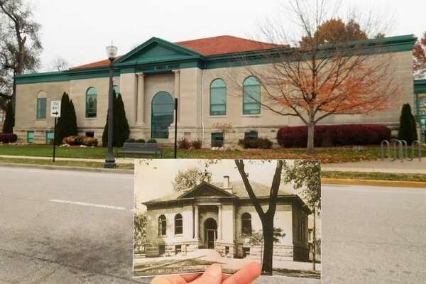 The Edwardsville Public Library, background, as it currently stands compared to the original structure, depicted in the photograph.