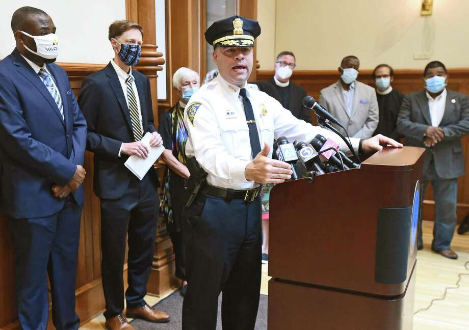New Haven Police Chief Otoniel Reyes speaks during a news conference New Haven City Hall. Photo: Peter Hvizdak / Hearst Connecticut Media / New Haven Register
