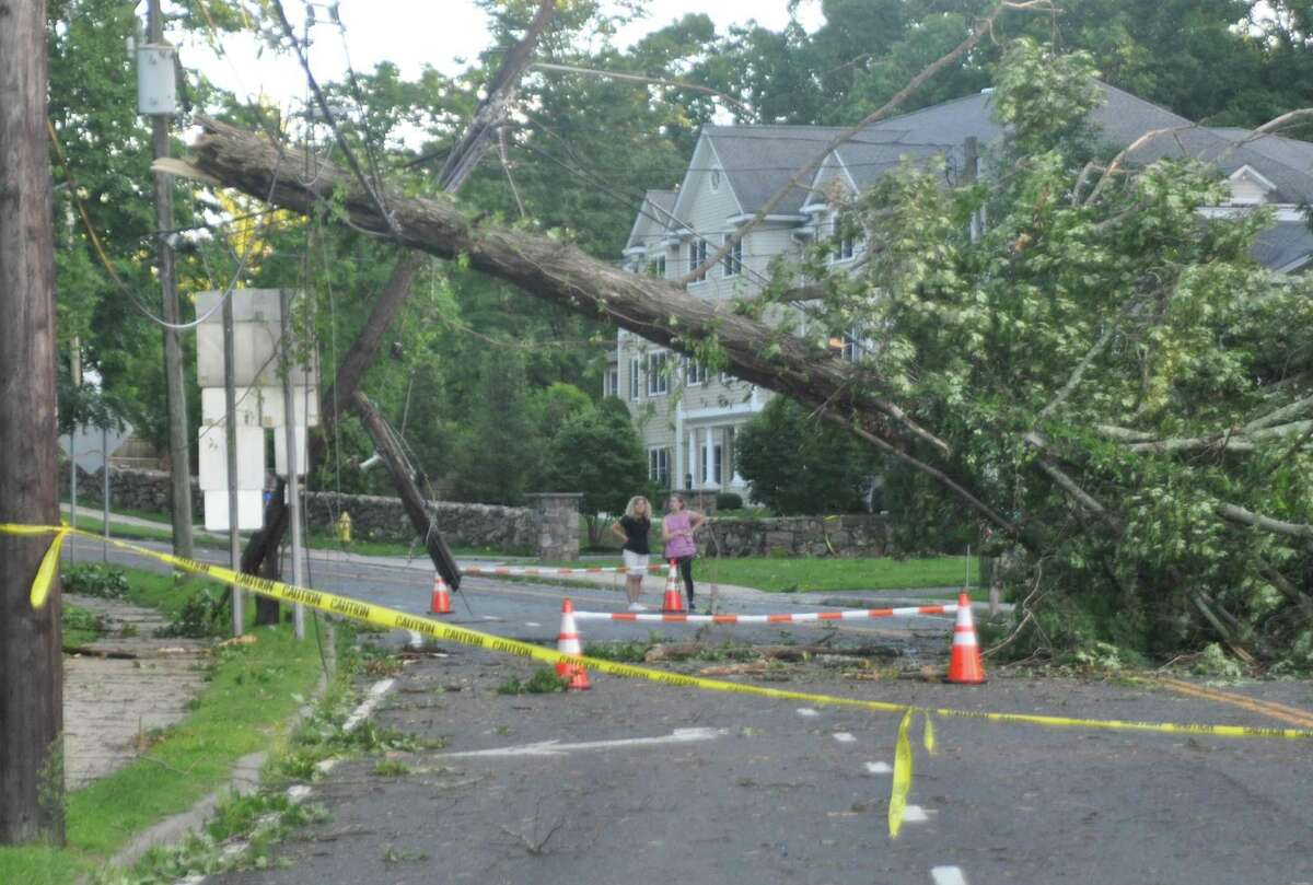 A tree down on Danbury Road after tropical storm Isaias on Tuesday, August 4, 2020 in Ridgefield, Conn.