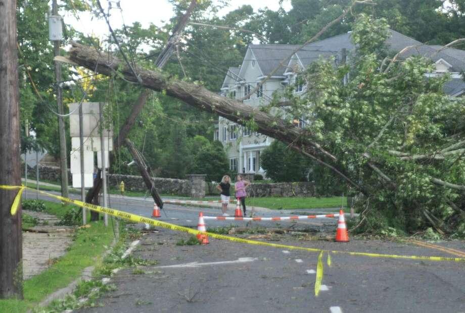 A tree down on Danbury Road after tropical storm Isaias on Tuesday, August 4, 2020 in Ridgefield, Conn. Photo: Macklin Reid / Hearst Connecticut Media / Ridgefield Press