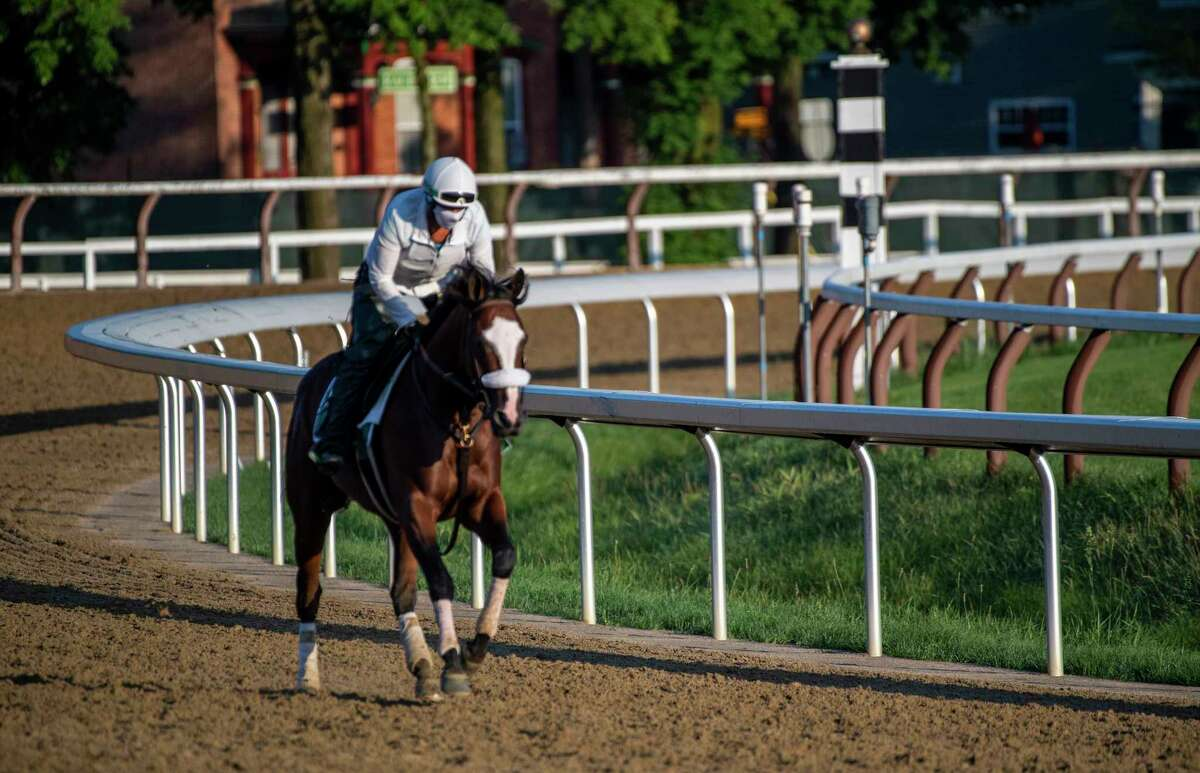 Travers Stakes morning line favorite Tiz the Law passes the 1863 Club in the early morning at the Saratoga Race Course Wednesday Aug. 5, 2020 in Saratoga Springs, N.Y. Photo by Skip Dickstein/Special to the Times Union