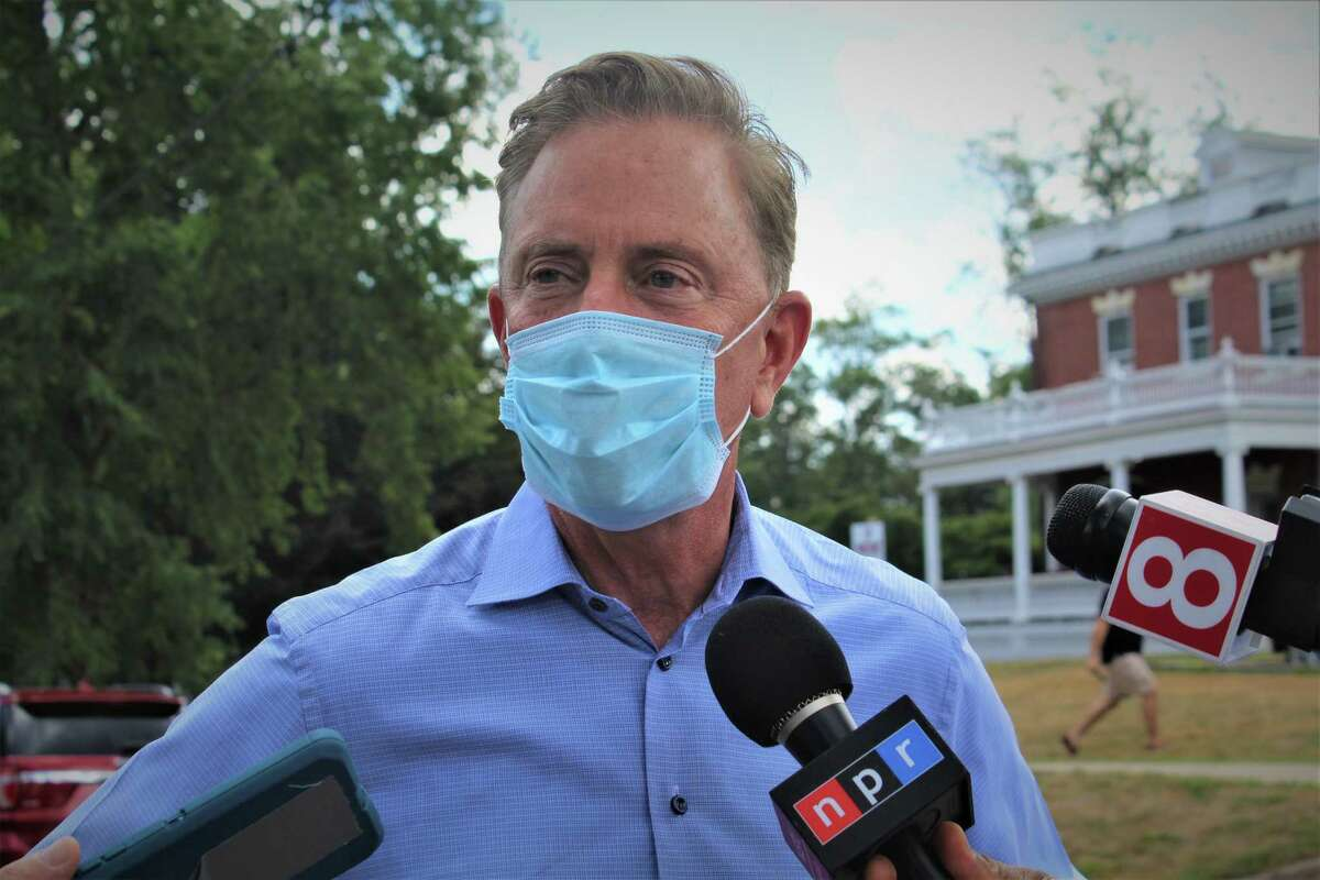 Connecticut Gov. Ned Lamont during a press conference on Wednesday, Aug. 8, 2020.