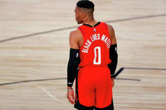 One reader calls out the NBA for its silence about the fight for civil rights and freedom in Hong Kong unlike its support for Black Lives Matter. Above, is Russell Westbrook of the Houston Rockets.