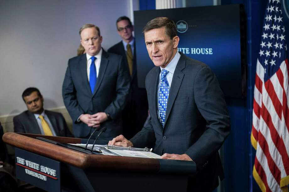 Then-national security adviser Michael Flynn speaks during a White House news briefing in February 2017. Photo: Washington Post Photo By Jabin Botsford. / The Washington Post