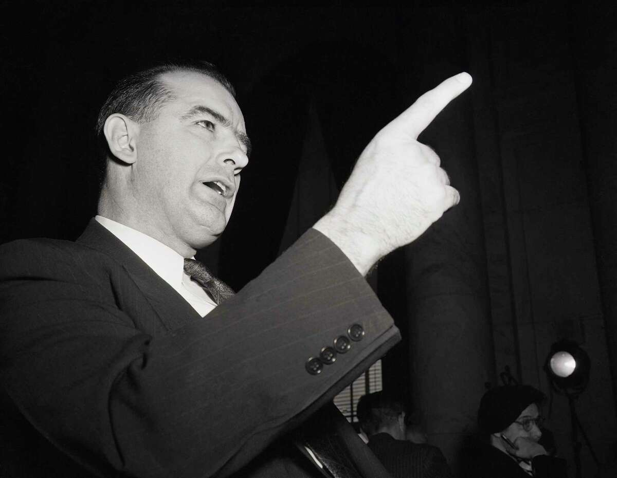 Sen. Joseph McCarthy on March 9, 1950, shakes a finger during his second appearance before the Senate Foreign Relations Subcommittee, which was investigating his charges of Communist infiltration in the State Department.