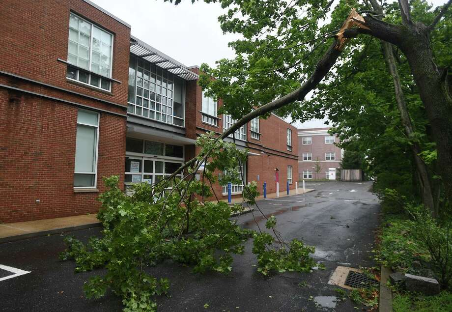 A downed tree limb blocks the driveway to the Fairfield Library as Tropical Storm Isaias brings high winds to Fairfield, Conn. on Tuesday, August 4, 2020. Photo: Brian A. Pounds / Hearst Connecticut Media / Connecticut Post