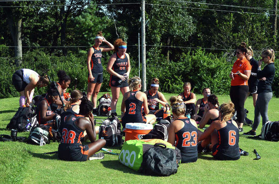 The Edwardsville field hockey team talks after a game last season at St. Joseph's Academy in Frontenac, Missouri. The Tigers learned this week that they will not play in 2020 due to the coronavirus outbreak. Photo: Matt Kamp|The Intelligencer