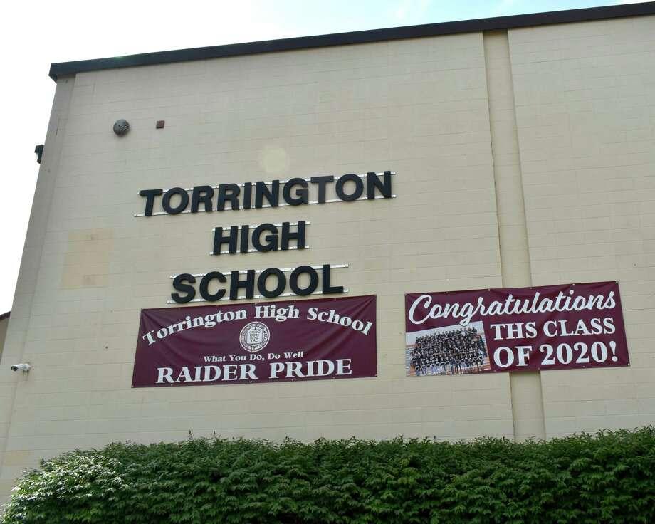 Signs celebrating Torrington High School's class of 2020. Photo: Lara Green-Kazlauskas / For Hearst Connecticut Media /