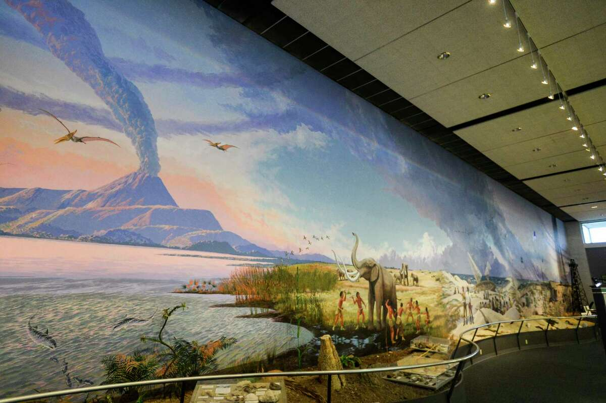 A mural that is 125 feet long stretches the entire length of one of the walls of the Museum of the Gulf Coast. The mural, which was painted by West Texas wildlife artist Travis Keys, took 10 months to paint and contains five different scenes of the Gulf Coast all joined by a common sky. Photo taken on Thursday, 03/07/19. Ryan Welch/The Enterprise