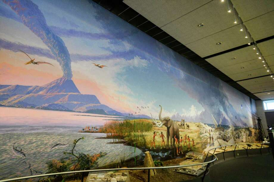 A mural that is 125 feet long stretches the entire length of one of the walls of the Museum of the Gulf Coast. The mural, which was painted by West Texas wildlife artist Travis Keys, took 10 months to paint and contains five different scenes of the Gulf Coast all joined by a common sky. Photo taken on Thursday, 03/07/19. Ryan Welch/The Enterprise Photo: Ryan Welch / The Enterprise / ©Ryan Welch