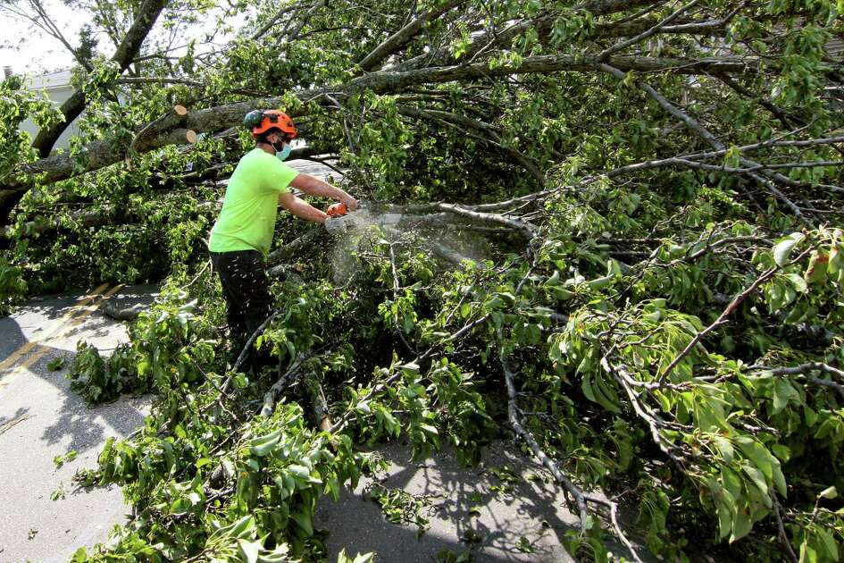 A worker removes a tree that landed across Lombard Street in New Haven, Conn., on Wednesday Aug. 5, 2020.