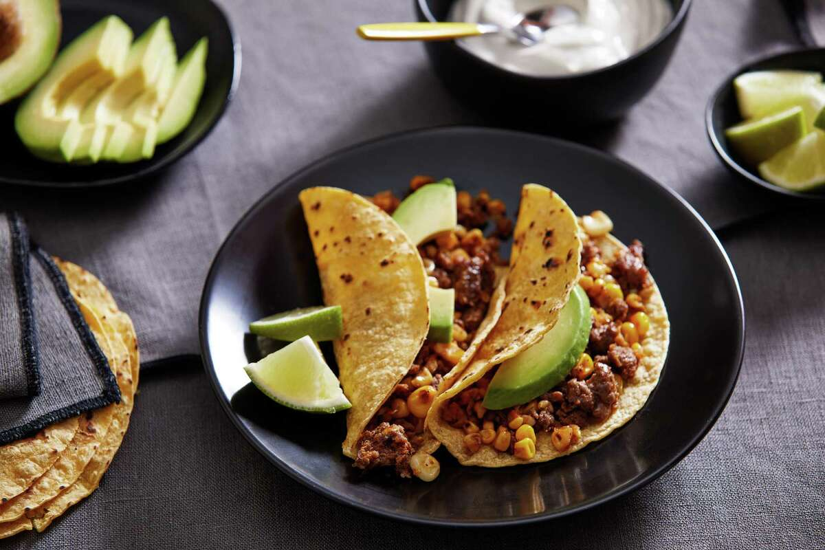 Chorizo and corn tacos. MUST CREDIT: Photo for The Washington Post by Tom McCorkle