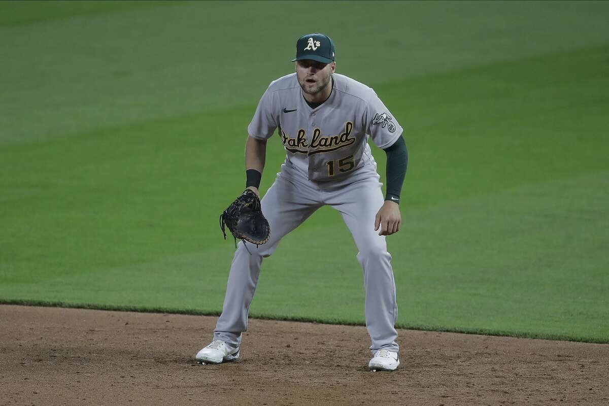 Oakland Athletics' Seth Brown in action during a baseball game against the Seattle Mariners, Monday, Aug. 3, 2020, in Seattle. (AP Photo/Ted S. Warren)