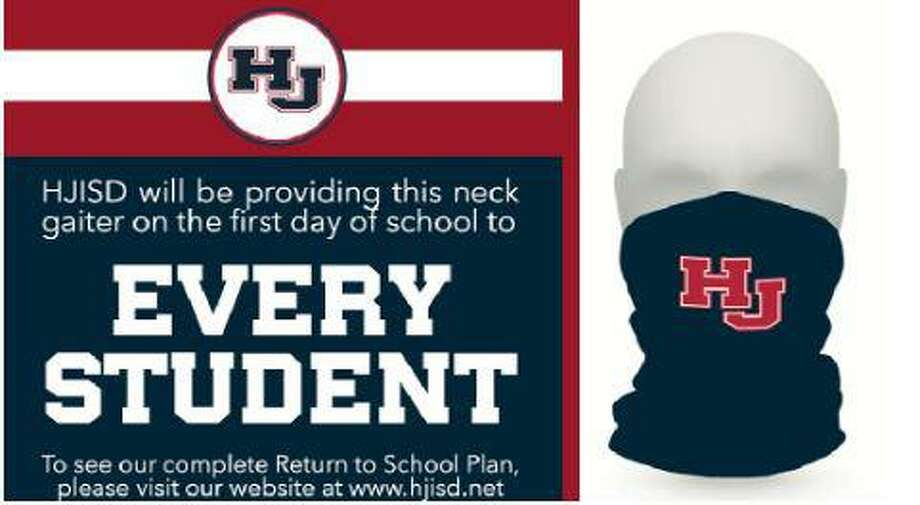 Students at Hardin-Jefferson ISD in Sour Lake will start the school year on Aug. 12 with a free neck gaitor, a type of face covering that is meant to protect students from the coronavirus. Photo: Hardin-Jefferson ISD
