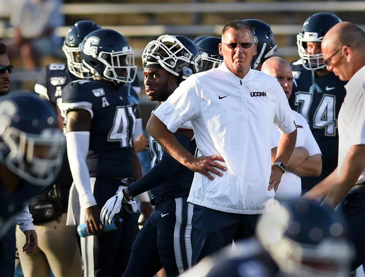 UConn coach Randy Edsall during the first half of an NCAA college football game against Wagner Thursday, Aug. 29, 2019 in East Hartford.