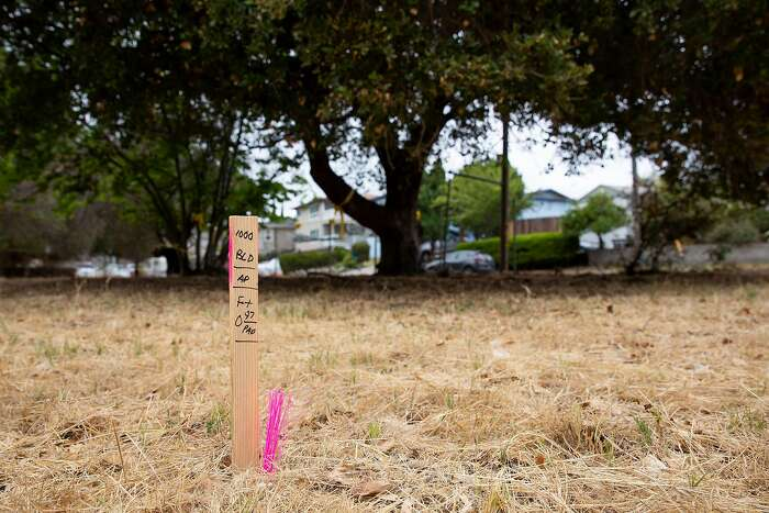 A survey stake marks the front corner of the building's footprint at the planned Eden Housing project site in Castro Valley, Calif. on Wednesday, Aug. 5, 2020. Just under 3 acres of the 6.24 acre plot owned by Eden Housing will be developed in an apartment complex with 72 units ranging from studios to 3 bedroom units.