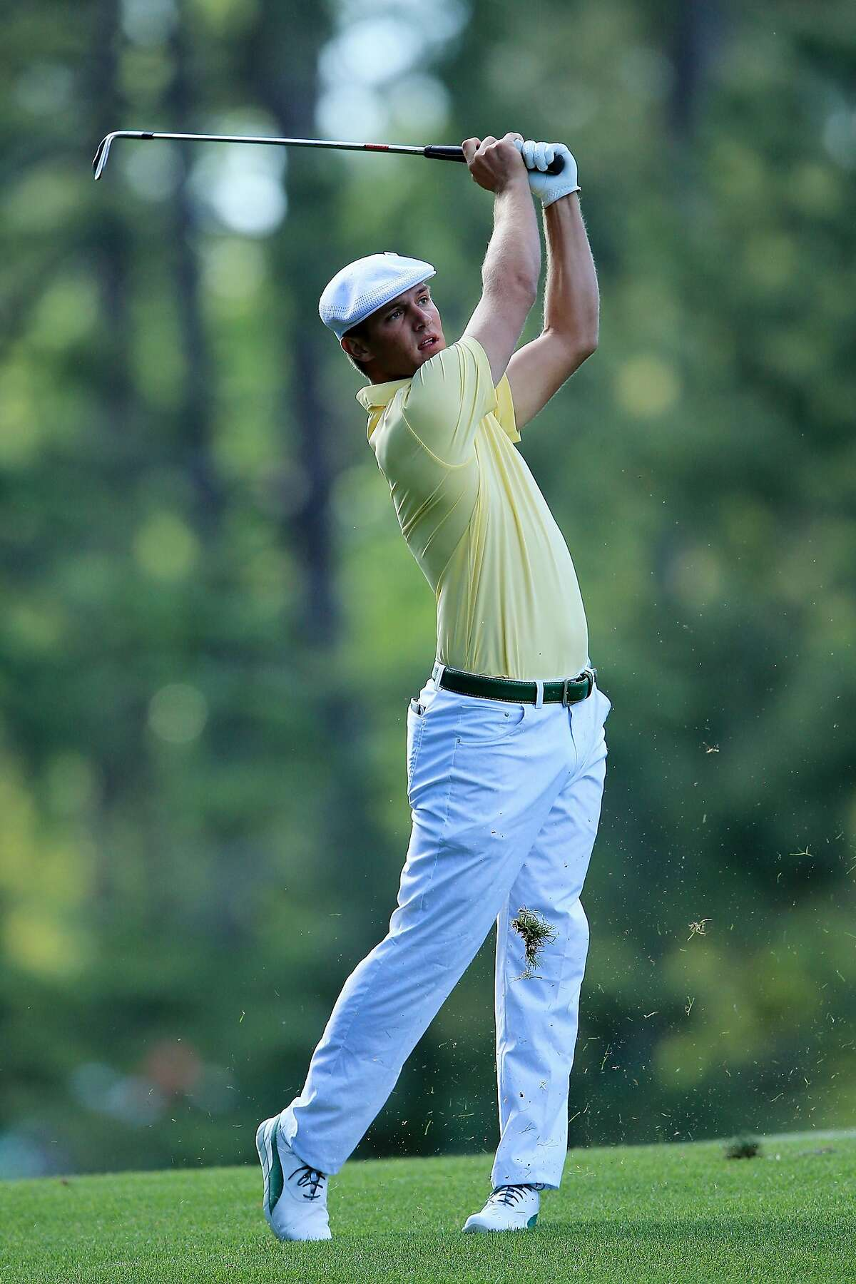 AUGUSTA, GEORGIA - APRIL 08: Amateur Bryson DeChambeau of the United States plays a shot on the 14th hole during the second round of the 2016 Masters Tournament at Augusta National Golf Club on April 8, 2016 in Augusta, Georgia. ~~