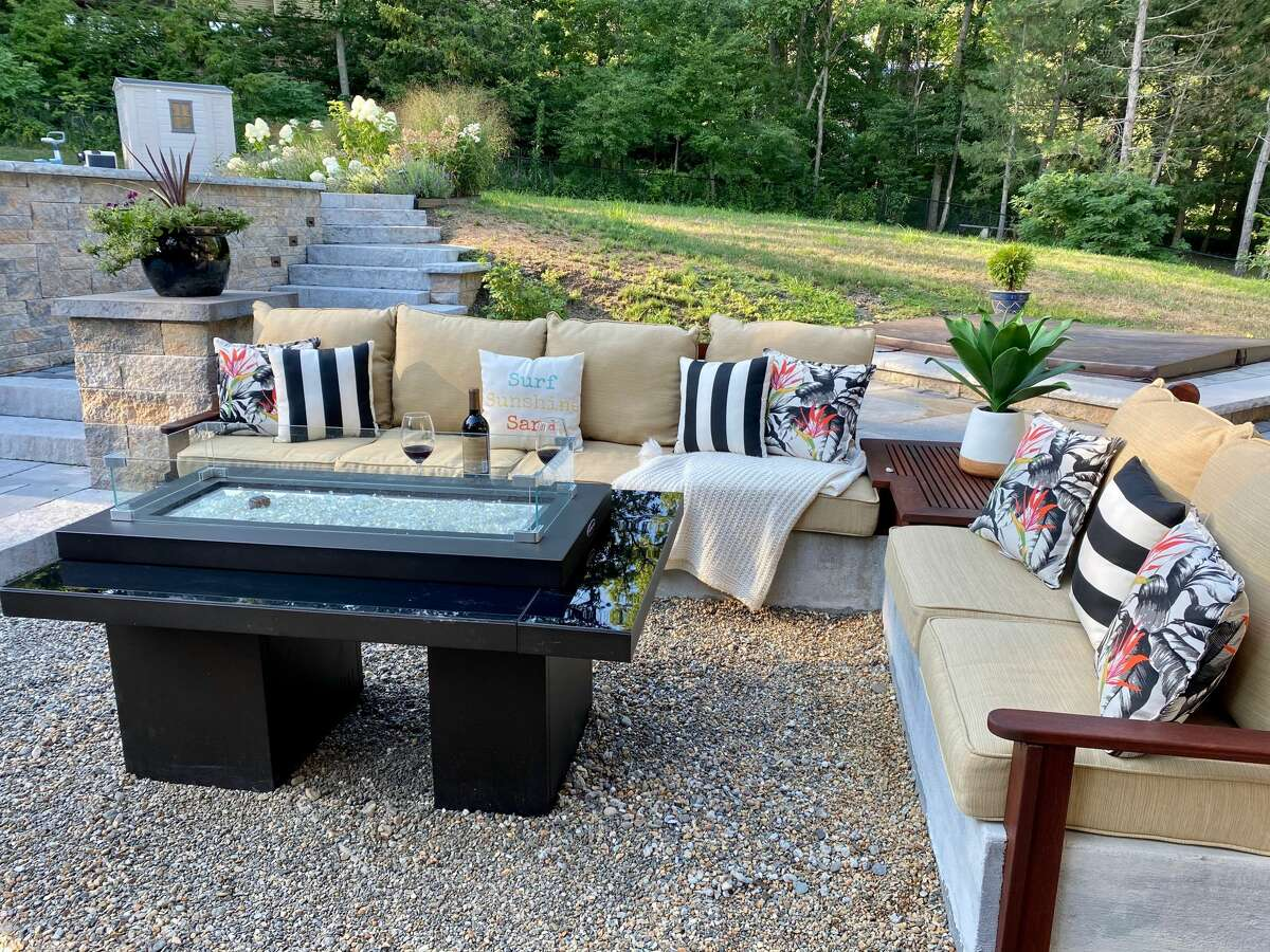 Diana Elkayam and her husband installed a new outdoor firepit last month. Elkayam said they wanted to ensure their children had memories of time spent at home together.