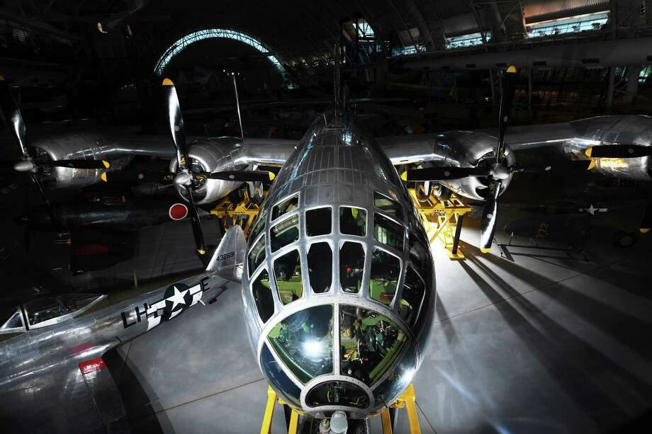 "A Boeing B-29 Superfortress nicknamed ""Enola Gay"" is seen at the Steven F. Udvar-Hazy Center in Chantilly, Va., on July 29, 2020. Photo: Washington Post Photo By Matt McClain / The Washington Post"