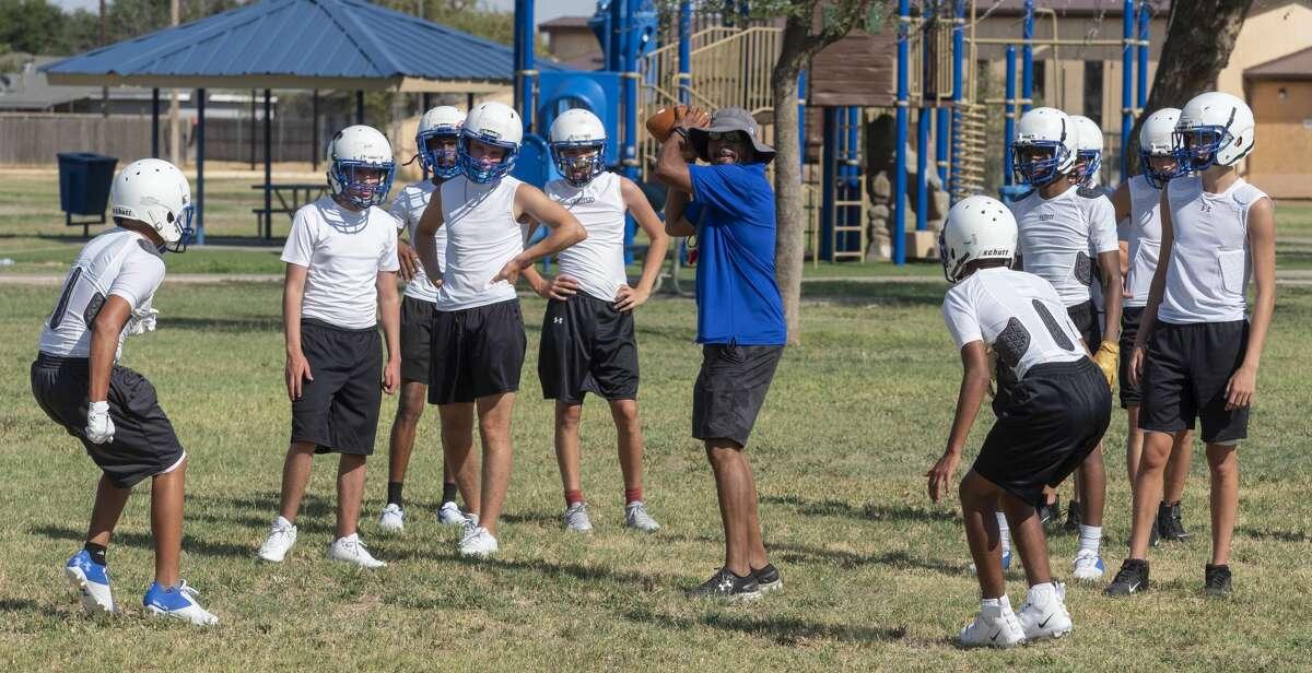 TLCA football players run drills 8/05/2020 at Garrett Brown Park. Tim Fischer/Reporter-Telegram