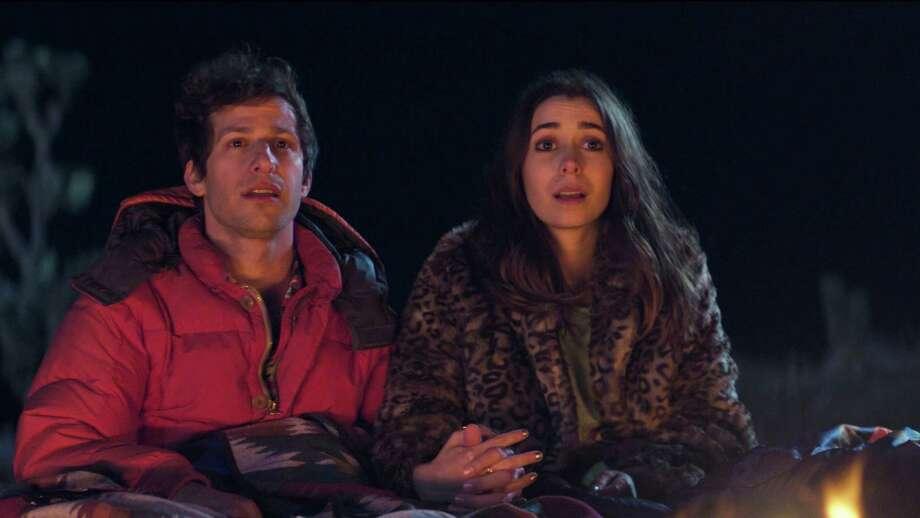 Nyles (Andy Samberg) and Sarah (Cristin Milioti) in 'Palm Springs.'(Hulu/TNS) Photo: Courtesy Of Hulu / TNS / Hulu