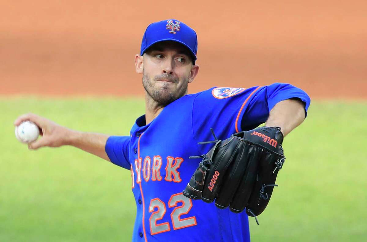 New York Mets starting pitcher Rick Porcello (22) throws during the first inning of a baseball game against the Washington Nationals in Washington, Wednesday, Aug. 5, 2020. (AP Photo/Manuel Balce Ceneta)