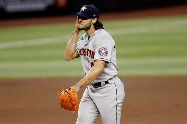 Houston Astros starting pitcher Lance McCullers Jr. looks towards the plate after giving up a run to the Arizona Diamondbacks during the fourth inning of a baseball game Wednesday, Aug. 5, 2020, in Phoenix. (AP Photo/Matt York)