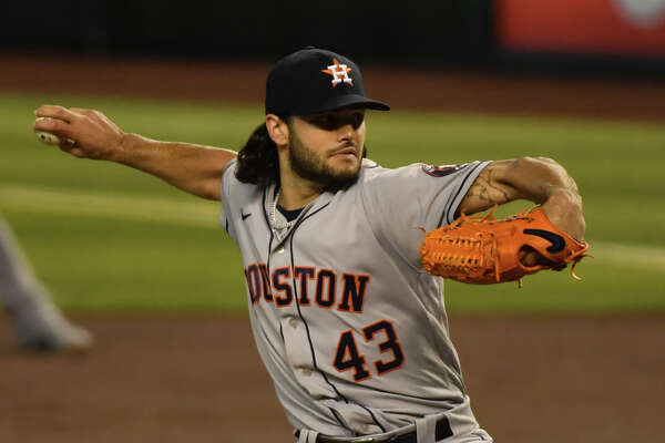 PHOENIX, ARIZONA - AUGUST 05: Lance McCullers Jr. #43 of the Houston Astros delivers a first inning pitch against the Arizona Diamondbacks at Chase Field on August 05, 2020 in Phoenix, Arizona.