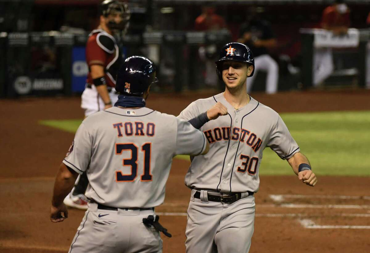 As Kyle Tucker (30) heads to the injured list, Abraham Toro made the short trip from Class AAA Sugar Land, with a pit stop at The Galleria, to rejoin the Astros.