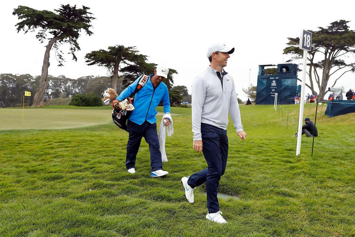 Rory McIlroy walks off 18th green after his PGA Championship practice round at Harding Park in San Francisco, Calif., on Wednesday, August 5, 2020.