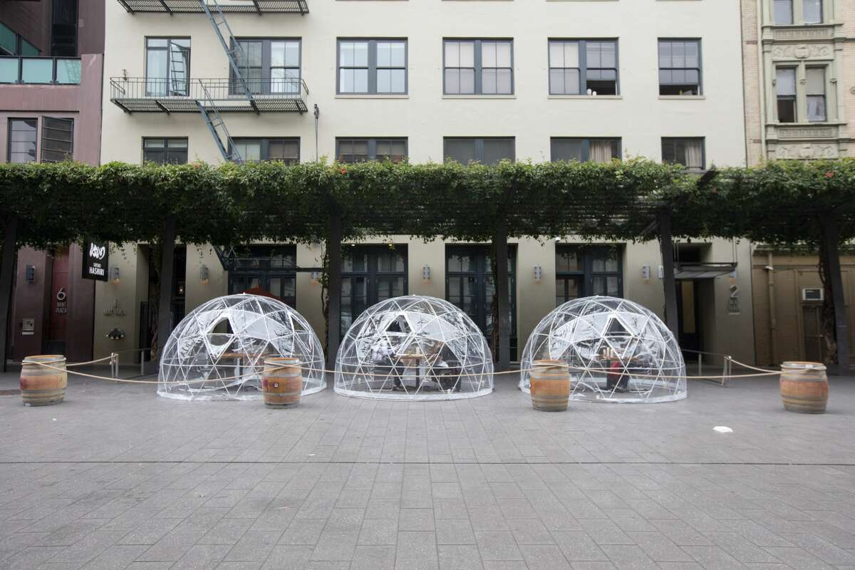Sushi Hashiri opened up outdoor dining service using patio bubbles in front of their restaurant in Mint Plaza in San Francisco, California on Aug. 5, 2020.