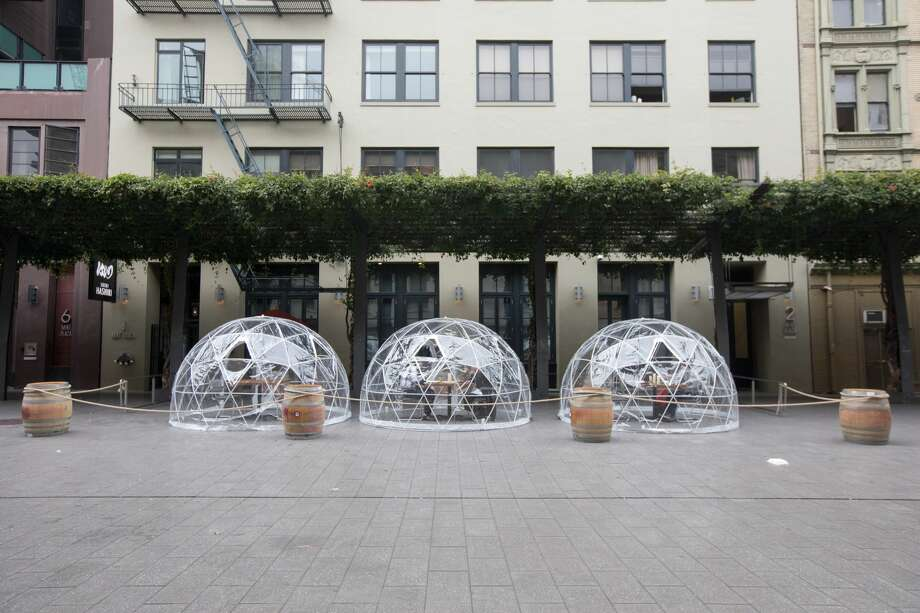 Sushi Hashiri opened up outdoor dining service using patio bubbles in front of their restaurant... </p> <p><a href=