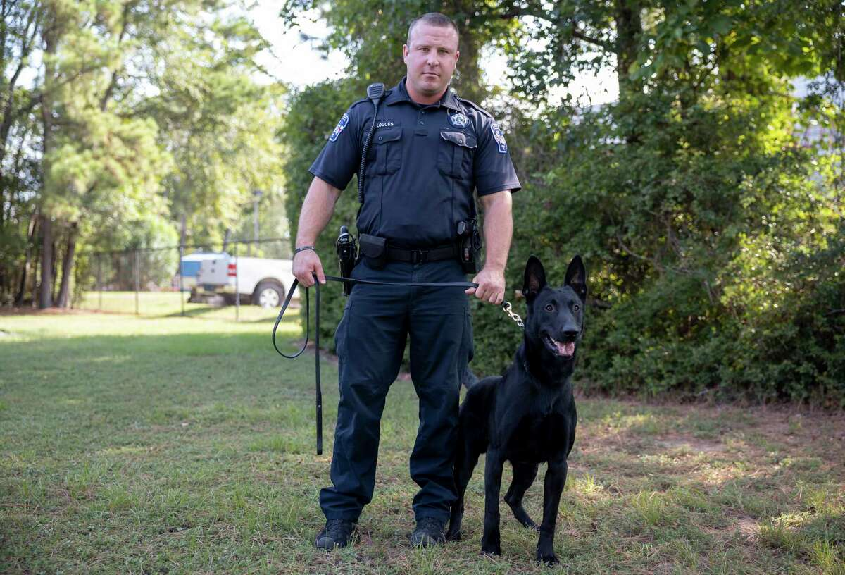 Deputy Justin Loucks poses for a portrait with his K-9 partner, Rambo, a black Malinois, at the Montgomery County Precinct 3 Constable's Office in The Woodlands, Wednesday, August 4, 2020. Rambo was recently added to their new K-9 force.