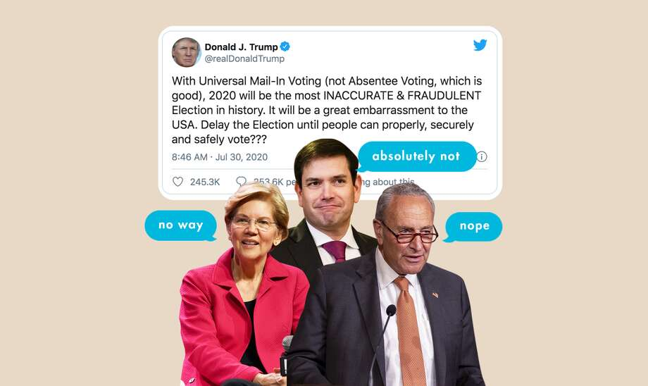 Would Congress Actually Move the Election, Though?: In a recent tweet, President Trump suggested he would be in favor of delaying the election. This is what Democrats and Republicans had to say. Photo: Hearst Owned