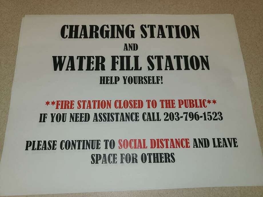 The Danbury Fire Department is offering a charging and water filling station at its headquarters. Photo: Danbury Fire Department / Facebook