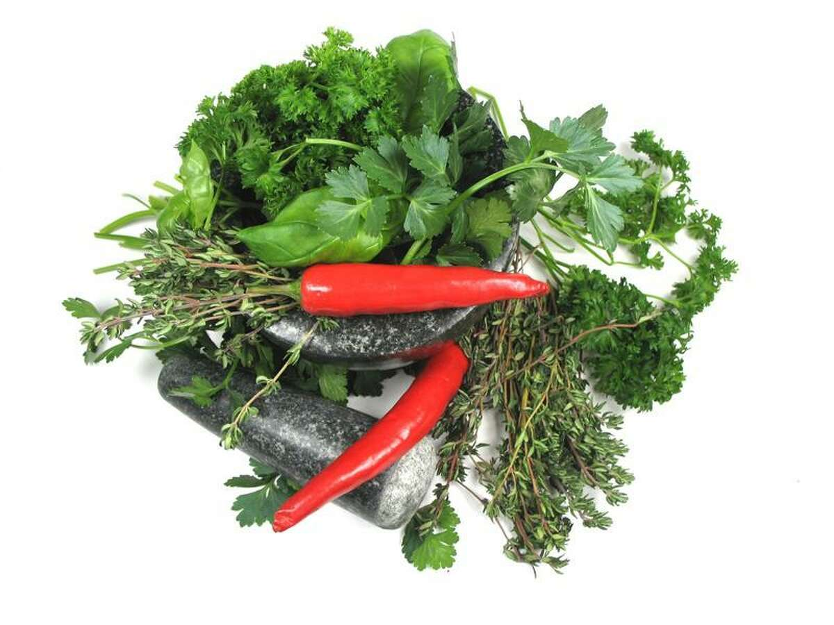 Mixed vegetables and herbs.