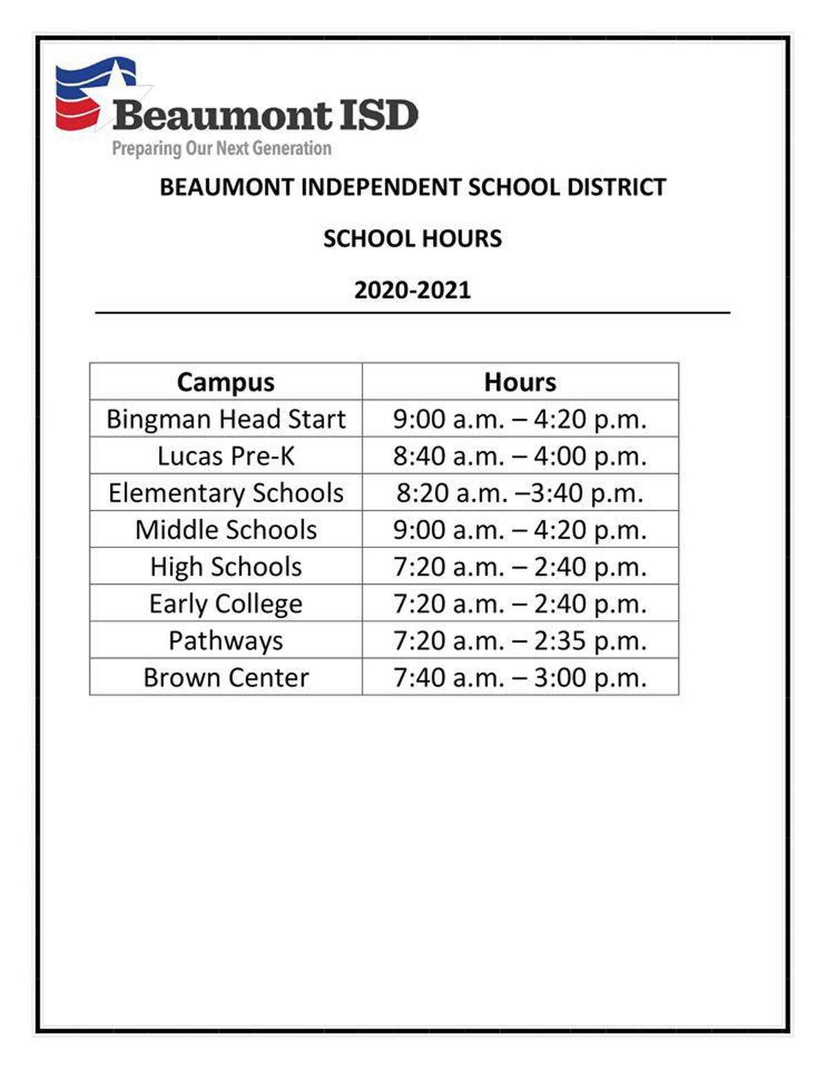 BISD adjusted their bell schedule for the 2020-21 school year