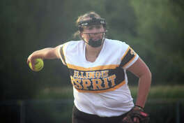Ryleigh Isbell, a 2020 Metro-East Lutheran graduate, delivers a pitch during a summer game for Illinois Esprit.