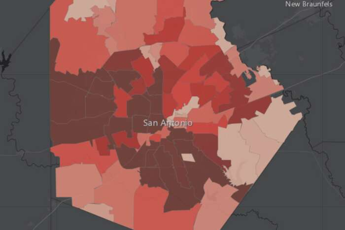 The city of San Antonio's surveillance dashboard tracks the number of cases in each zip code. Darker areas have more cumulative cases.