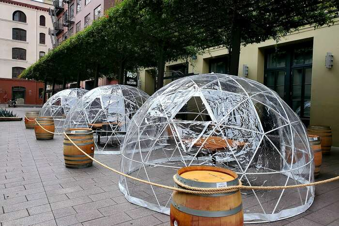 San Francisco fine dining restaurant Hashiri installed three geodesic domes for outdoor dining this week in the hopes of providing a safe environment during the coronavirus.