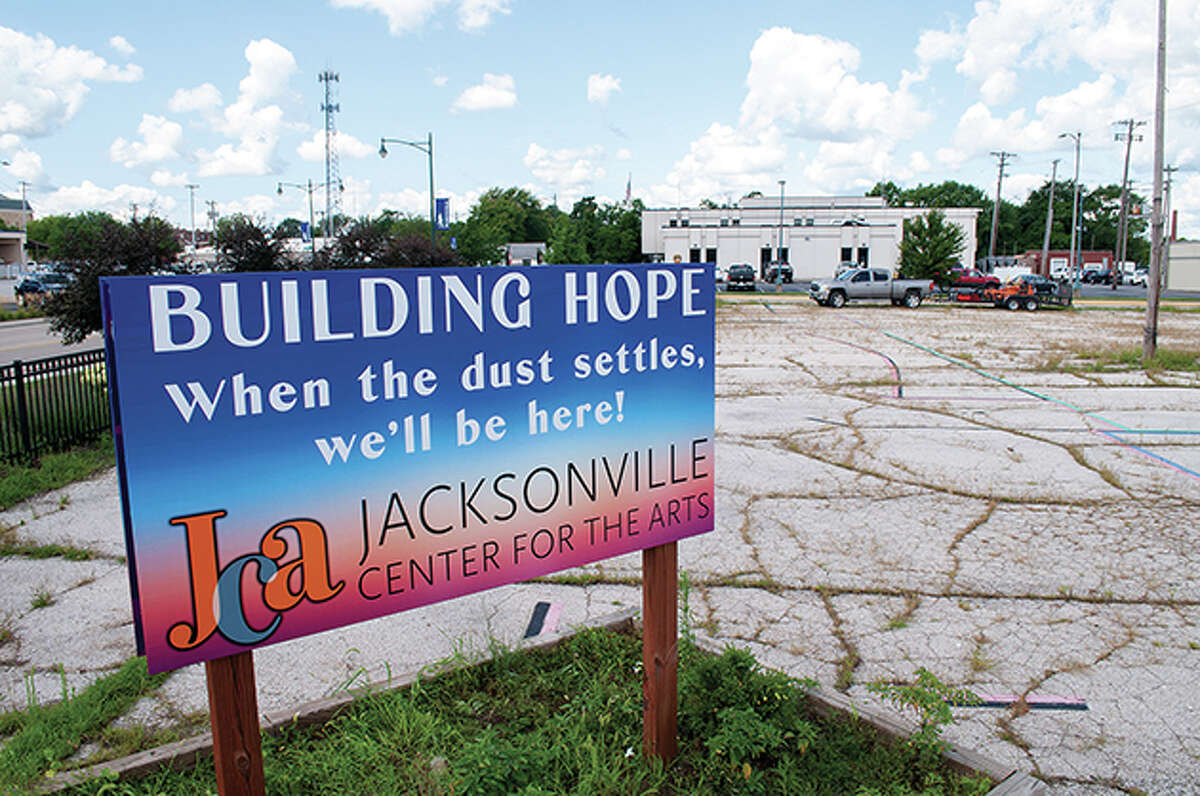 A sign on North Main Street marks the planned location of the Jacksonville Arts Center.